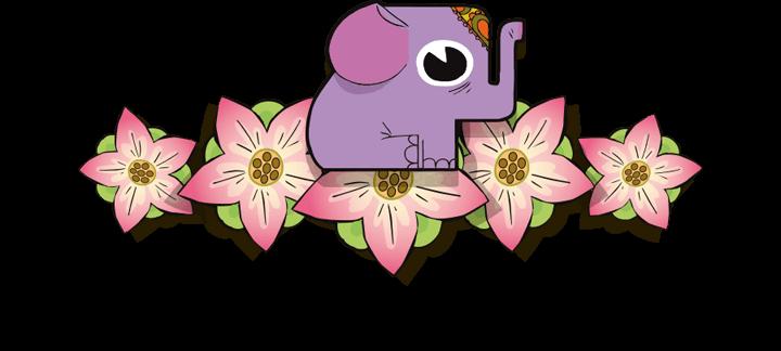 Elefant auf Lotusblumen
